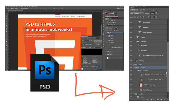 Convert a PSD To HTML5 | Export Kit