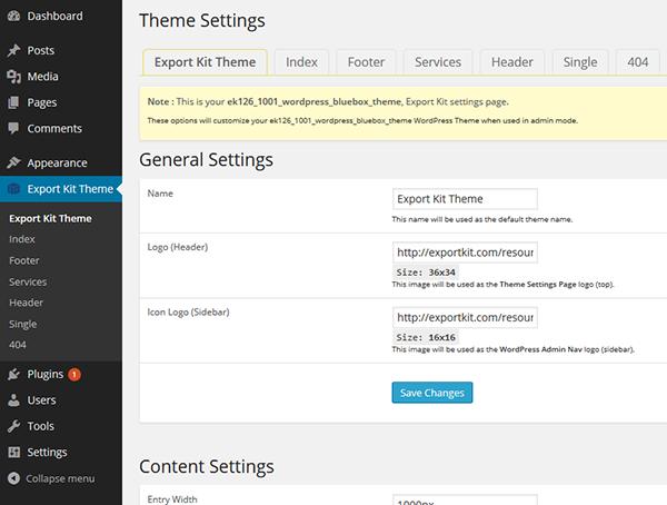 Create WordPress Frameworks | Export Kit