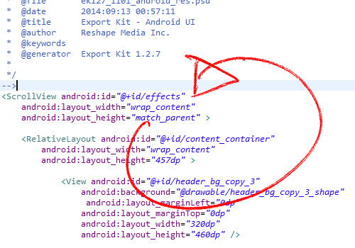 Convert a PSD to Android XML UI and Java | Export Kit
